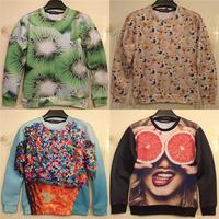 Kiwi fruit/Lemon orange print 3D fruit sweater female autumn sweatshirt funny lulu mouth-watering women hoodies pullovers