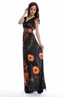 fashion floor length Print Bohemian maxi dress Women Plus Size dress Free shipping HL1902-black
