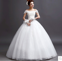 New 2014 Autumn Lady Organza Lace Embroidery Diamond Floor Length Off The Shoulder Princess Formal Wedding Dress Bridal Gown