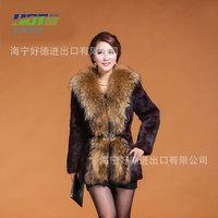 2014 new women's long coat,section of large raccoon fur collar rabbit fur coat,free shipping