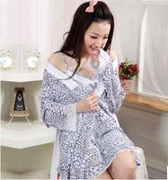 100% cotton sleepwear long-sleeve lounge sleep set Women women's spaghetti strap nightgown twinset 92809