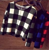 T Shirt Women Plaid Blusas Femininas 2014 T-shirts Casual Short Blusas Fashion Long Sleeve Slim Tops T8013