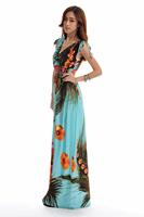 fashion floor length Print Bohemian maxi dress Women Plus Size dress Free shipping HL1902-blue good quality dress