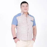 9XL 10XL Factory Direct Summer New Men's Short Sleeve Linen Shirt Stitching  Patchwork Denim Shirt Men Big Size 6XL