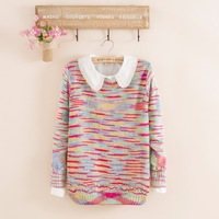 2014 fashion women's winter wool knitted plus size all-match loose striped long sleeve sweater pullover free shipping