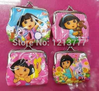 24 Pcs Cute coin purse kid's children wallet girl Dora designs purse free shipping(China (Mainland))