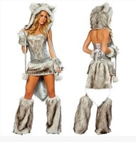 New female Halloween customs cosplay clothing set fox role play suit strapless top with long fur tail and ear hat