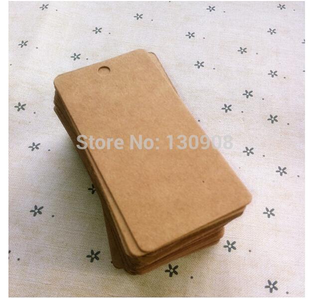 Size 8*4CM Vintage Kraft Blank price Hang tag Retro Kraft Gift tag Paper Tag 300pcs / lot Free Shipping(China (Mainland))
