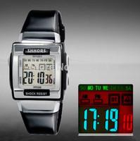 SHHORS Unisex Sports Watches Military Watch Women Dress Watches 3ATM Waterproof LED digital watch multi-function quartz watch