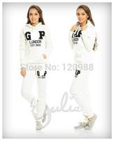 GXP Print 2 pcs Hoodies Set 2014 New Winter Women Sport Casual Letter Cotton Running Suit Tracksuits Sweatshirts+pant Thicken