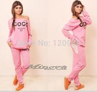 COCO Letter Women Fashion Autumn Long sleeve Sport suit Hoodies+pant Ladies Ttacksuits Casual Sweatshirt