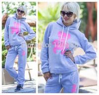 Little Bear Winter Thick Women 2014 Sport Suit Casual Tracksuits Hoody Moleton Sweatshirt+pant Printed 2Pcs Set