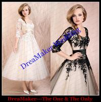WHS014 Lace Bridal Wedding Gowns Vestido De Noiva Long Sleeves Wedding Dress Short Wedding Dresses 2015