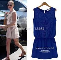 Free Shipping Size S M L XL 2014 New spring summer sleeveless vest dress lace chiffon Casual Vestidos Paty Dress bottoming dress