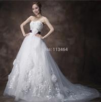 Free Shipping Wedding New Fashion Lace Flower Ball Bridal Gown Wedding Dress 2014