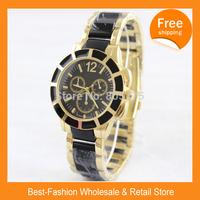 Free Shipping 2014 New Christmas Gift P Brand Logo Lady Women Dress Watch Rose Gold Men Wristwatches Japan Quartz+Drop Shipping