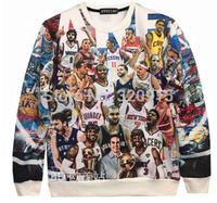 Fashion 2014 Women/Men  all star Lakers Kobe Maddie James 3D Fashion sweatshirts animal rip print galaxy sweaters Hoodies top