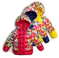 New 2014 girls winter coat printing brand down jacket in winter children warm cotton-padded clothes children warm coat
