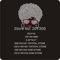 wholesale iron-on rhinestone transfer afro girl rhinestone transfer WLA142