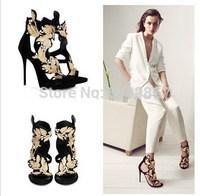 Fashion Rhinestone High Heels Genuine Leather Heels Brand Flip Flops Gold Leaves GZ Sandals High-heeled  Free Shipping