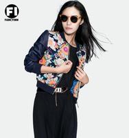 Fancyinn Brand 2014 Ladies Jacket Europe Short Flower Print Blue Embroidery Stitching PU Leather Baseball Uniform Coat