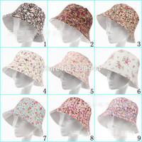 5pcs/lot Sen female series Floral outdoor sun hat bucket hats ladies summer sun hat