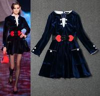 Freeshipping 2014 New Dress Autumn Winter Fashion Runway Women Silk Velour Long Sleeve Elegant Slim Dress With Belt Sweetheart