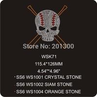 skull rhinestone transfer 30pcs/lot wholesale price rhinestone heat transfers made in China WSK71