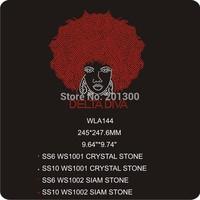 rhinestone heat transfer designs delta diva afro girl rhinestone transfer 30pcs/lot  WLA144