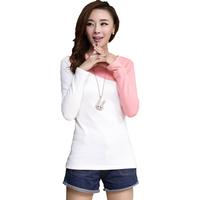 Roupas Femininas Autumn Winter Thick Warm Patckwork Basic Tops Fashion Mixed Color Long Sleeve Casual Tee Camiseta Verao 2345