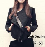 European Fashion 2014 Women Trench Coat With Zipper Slim Short Oversize Cool Wool Jacket Overcoat Autumn Winter Outerwear
