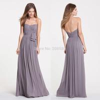 Light Brown Strapless Pleated Long Bridesmaid Dresses Party Dress 2015 Vstido Madrinha Chiffon B2295