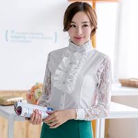 Korean Vesion 2014 Retro Style Lace Patchwork Chiffon Blusa Long Sleeve Renda Elegant Career Shirts Roupa Japonesa 6035