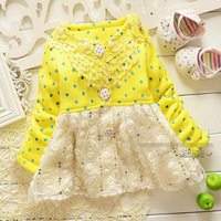 New autumn baby girl jacket pink yellow cotton long sleeve lace dot thick jacket kids girls jacket children jackets 4pcs/lot