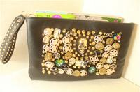 Super personality shine crystal skull rivet buttons sharp retro envelope clutch bag hand handbag shoulder diagonal