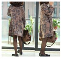 Women clothing 2014 New autumn winter plus size batwing sleeve dress comfortable loose casual women dress elegant print dress