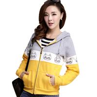 Preppy Style Miced Color Pockets Hoodies Cute Cartton Printed Warm Zippers Long Sleeve Sweatshirts Moleton Feminino 2345