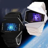 Fashion Men Women Day Date LED Plane Head Shape Silicone Gel Wrist Watch White women wristwatches WWFA1007L