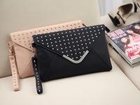 Envelope bag motorcycle bag rivets holding small fresh nude pink handbag