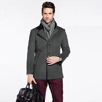 Fashion 2014 New Style Men's Coat Casual Slim Fit Jacket Fur Collar Woolen Overcoat Warm Outwear Men's Upscale Wool Blend Coats
