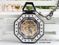 Octagonal black mechanical watch, polygon gossip black tungsten steel mechanical pocket watch, vintage pocket watch