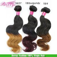 "6A Peruvian Virgin hair Body Wave 3pcs/lot(12""-24"")colorT1b/#27 T1b/#4 T1b/bungundy Berrys hair products hair weaves human hair"