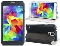 Textured Stand Faux Leather Flip Case with Transparent Touch Front Cover for Samsung Galaxy S5 I9600
