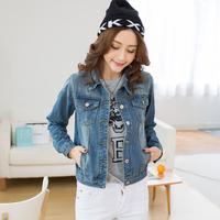 Reality Pat The Winter New Korean Denim Long Sleeved Slim Short Coat Cowboy Clothing Female Denim Jacket