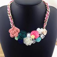 Fashion cloth art necklaces for women crystal colorful charm pendant fabric flower love choker statement Necklaces & Pendants