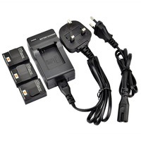 DSTE 3PCS Replacement Li-ion Battery Pack and UK & EU Plug Charger for Gopro AHDBT-301 AHDBT-201 HERO3 HERO3+ Camera