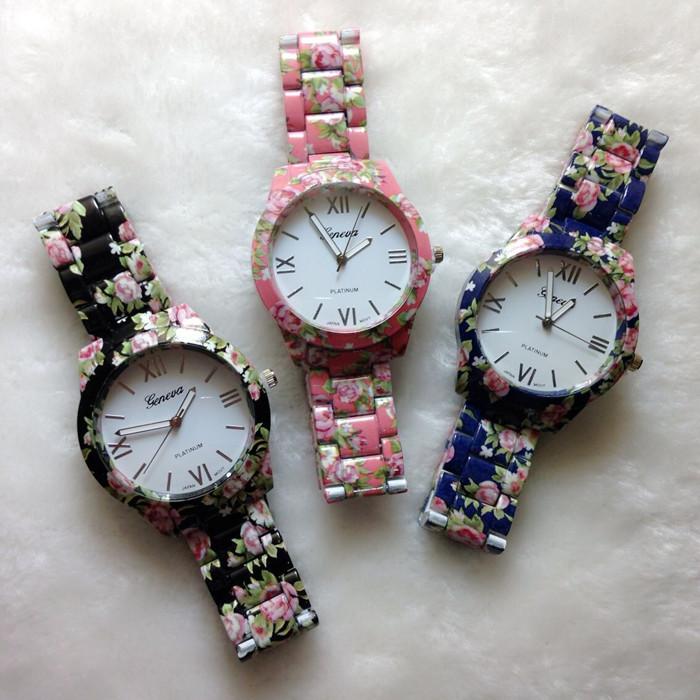 2014 Christmas Gift Watches Women Fashion Geneva Flower Print Quartz Analog Watches Stainless Steel Brand Female Dress Watches(China (Mainland))