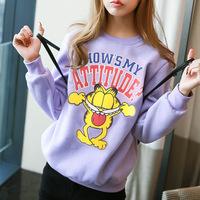[Amy]  2014 new style cartoon women hoodies English cat cotton sweatshirts fleece inside hoodie 5 color  918H