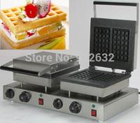 Double squares rectangle waffle baker, rectangle waffle maker machine