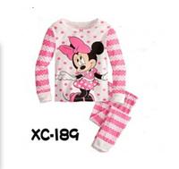 2014 new 6 designs 100% cotton hello kitty pajamas for girls flower girls minnie pyjamas kids clothes baby clothing 2pcs/set